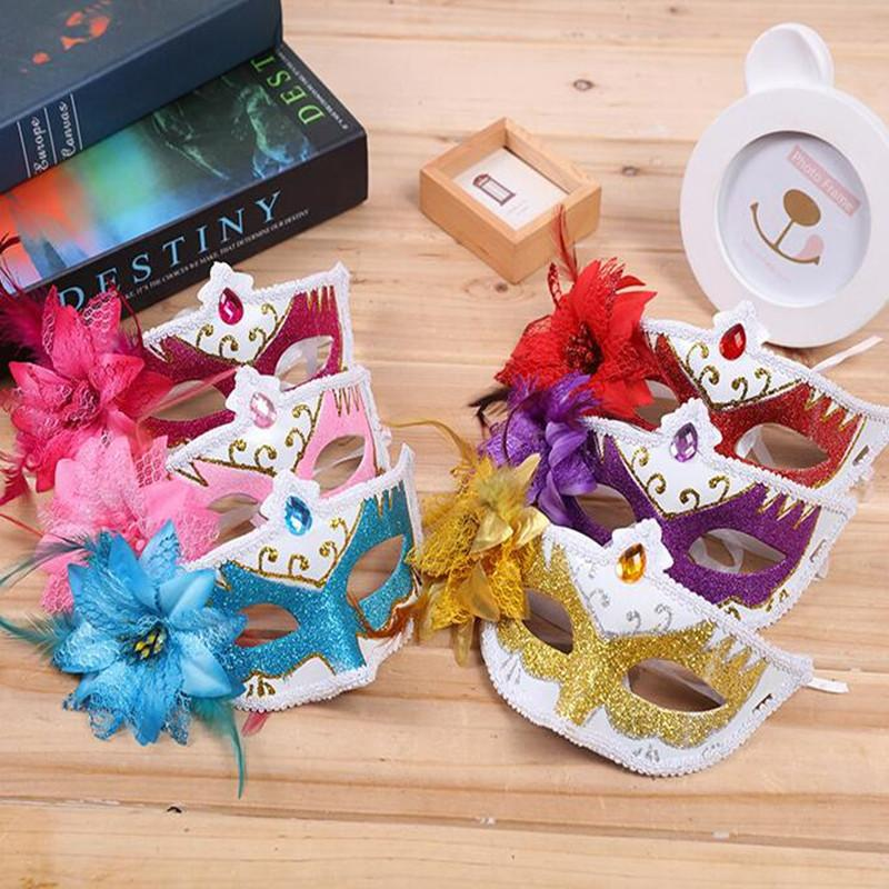 Venice Flower Mask Women Girls Colorful Painted Feather Masks Masquerade Dance Party Christmas New Year
