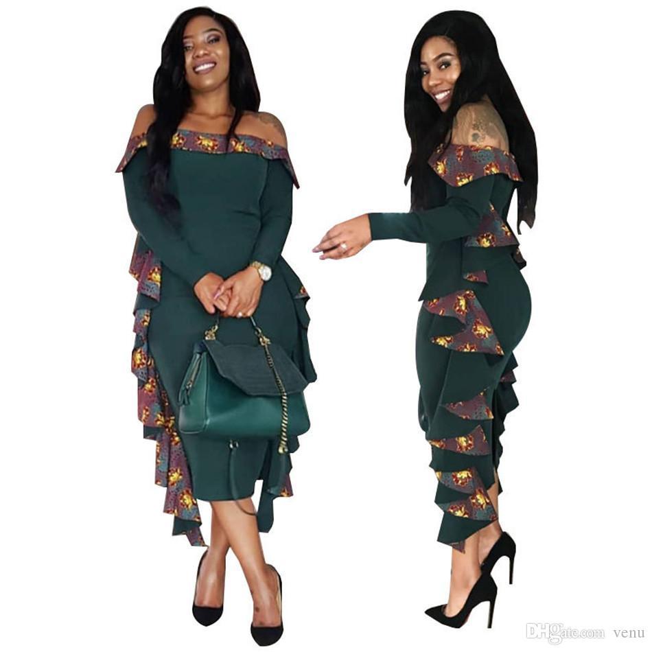1a264aab59a5 2018 Women Summer Dress Sexy Long Sleeves Dress Female Large Size Off  Shoulder Slash Neck Falbala Dresses NB 193 Purple Floral Maxi Dress Black  Dress Womens ...