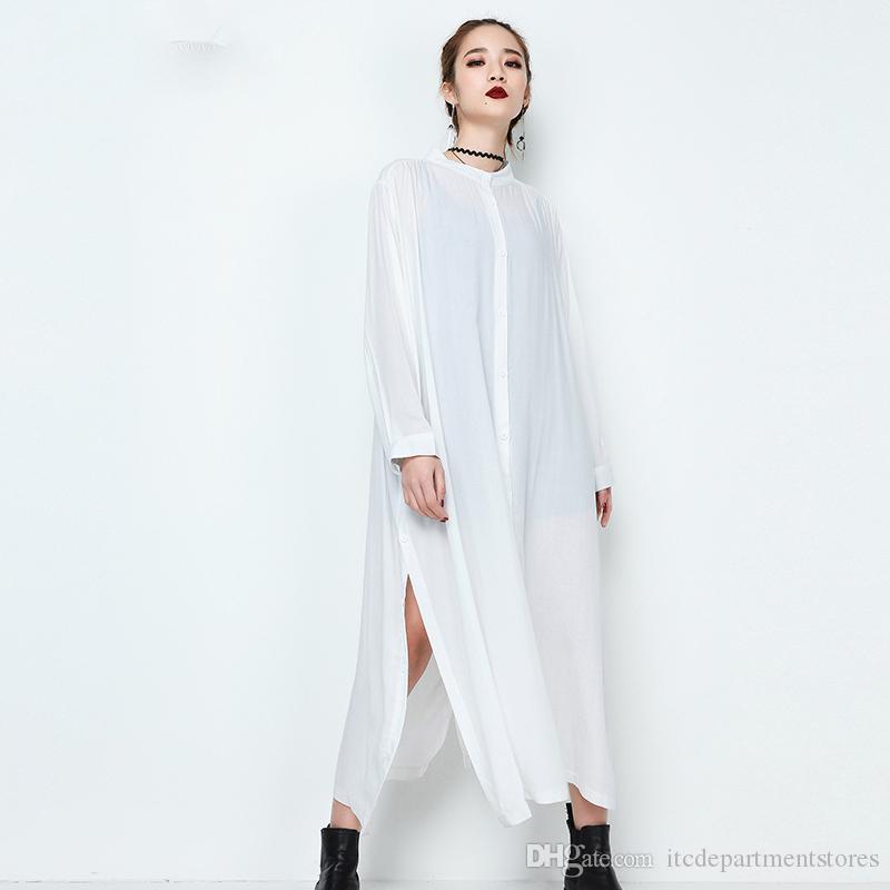 wholesale dealer d027b a1a31 Casual Kleider 2018 neue Frühling Stehkragen Langarm schwarz weiß Side Vent  lose große Größe langes Kleid Frauen Mode Flut