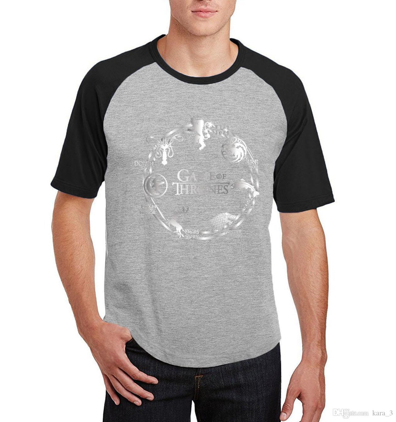 5a94701fe9 Compre Jogo Dos Tronos Raglan Manga Curta Camisetas Novidade Inverno Está  Vindo U Camisetas Homens 2018 Verão Camisetas De Algodão De Kara 3