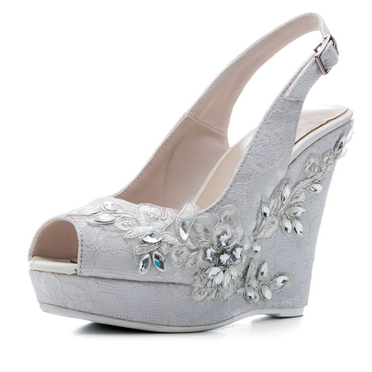 30359ee97f4 Fashion Lace Wedges Sandals Crystal Flowers High Heel Sandals Women  Platform Buckle Straps Shoes Summer Party Shoes