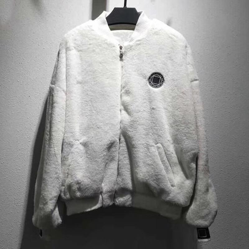 b1edb2f9d Faux Fur Soft Lamb Fur Bomber Jacket 2018 New Autumn Solid Color Loose Drop  Shoulder Jackets Women Solid Color Sweet Coat