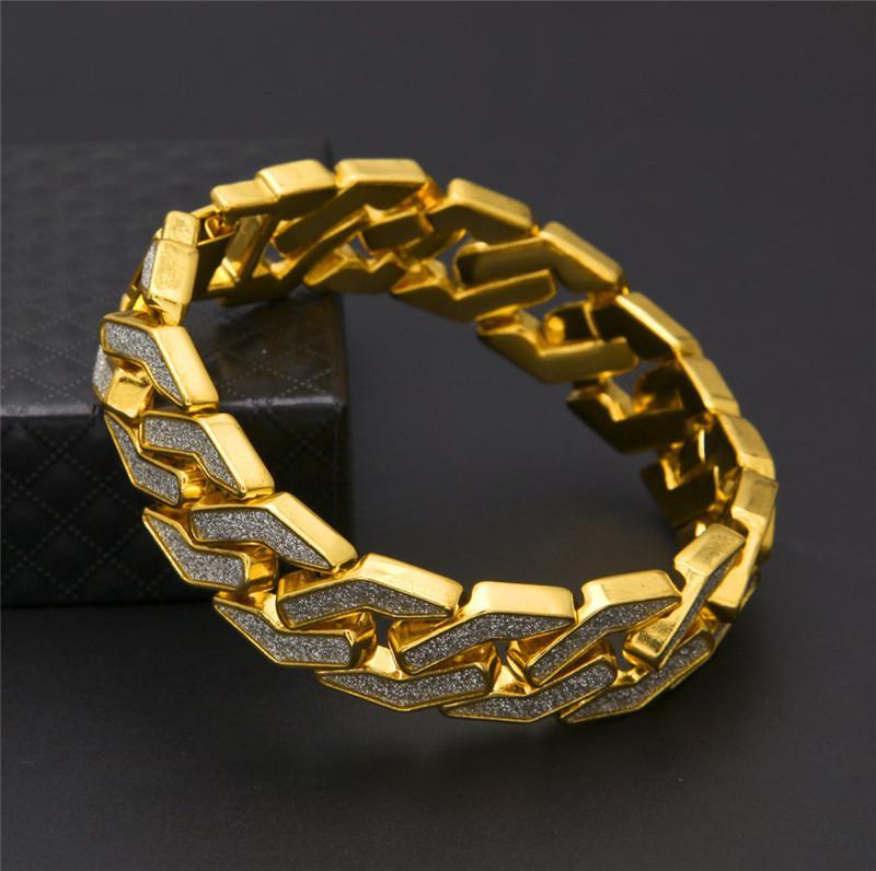 Cuban Chain Bracelet For Mens Tops Quality Pop Club Accessories Ice Out Hip Hop Bracelets Gold Plating Bangle Zircon Chains