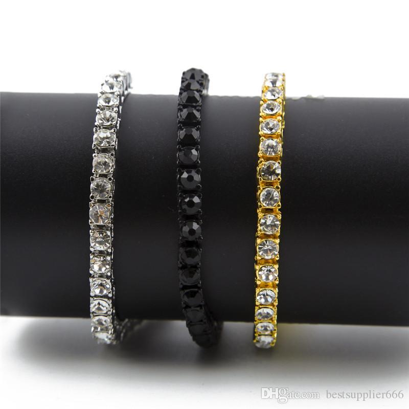 Bracelet unisexe Hip Hop or 14 carats glacé sur une chaîne de tennis Bling Bling Steampunk chaîne