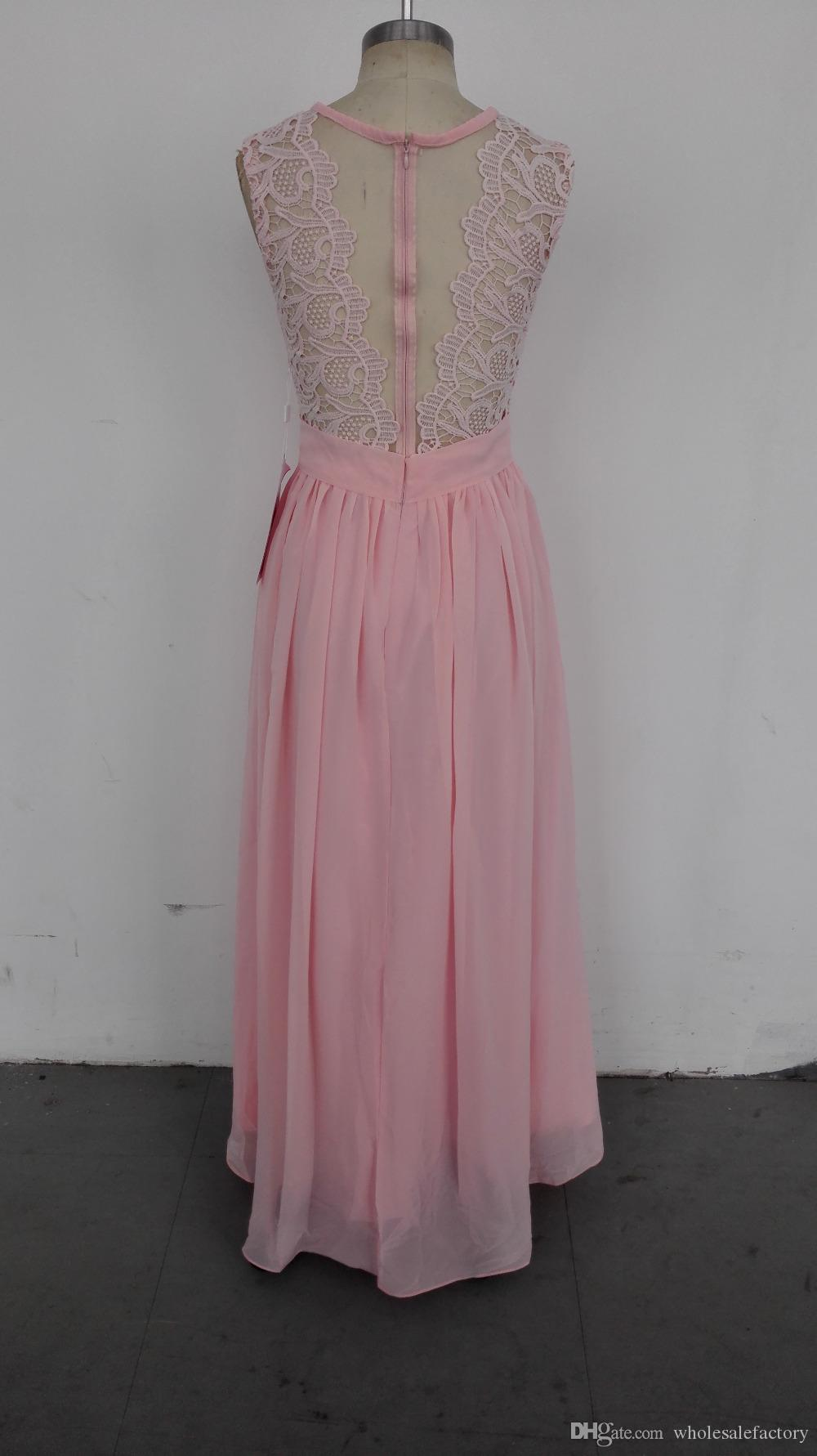 Real Image Pink Mint Long Bridesmaid Dresses Lace A Line Sleeveless Wedding Guest Party Dresses Summer Boho Maid of Honor Prom Dresses