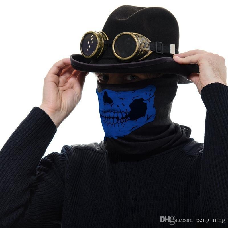 16-in-1 Masque multifonctions crâne Masques Halloween moitié visage - Sports écharpe magique Bandeau Couvre-chef pour l'extérieur Foulard blanc, rouge, rose, G