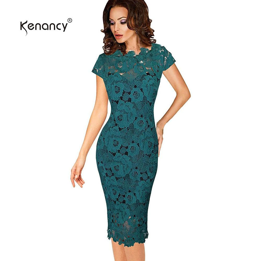 Kenancy Sexy Hollow Out Lace Dress Women Party   Office Elegant Sheath  Bodycon Pencil Evening Vestidos With Lining D1891704 Online with   36.88 Piece on ... da7069a09026