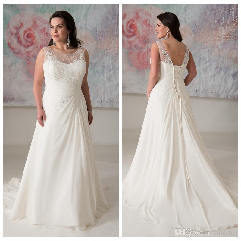 Elegant Plus Size Wedding Dresses With Beads New Scoop Sleeveless