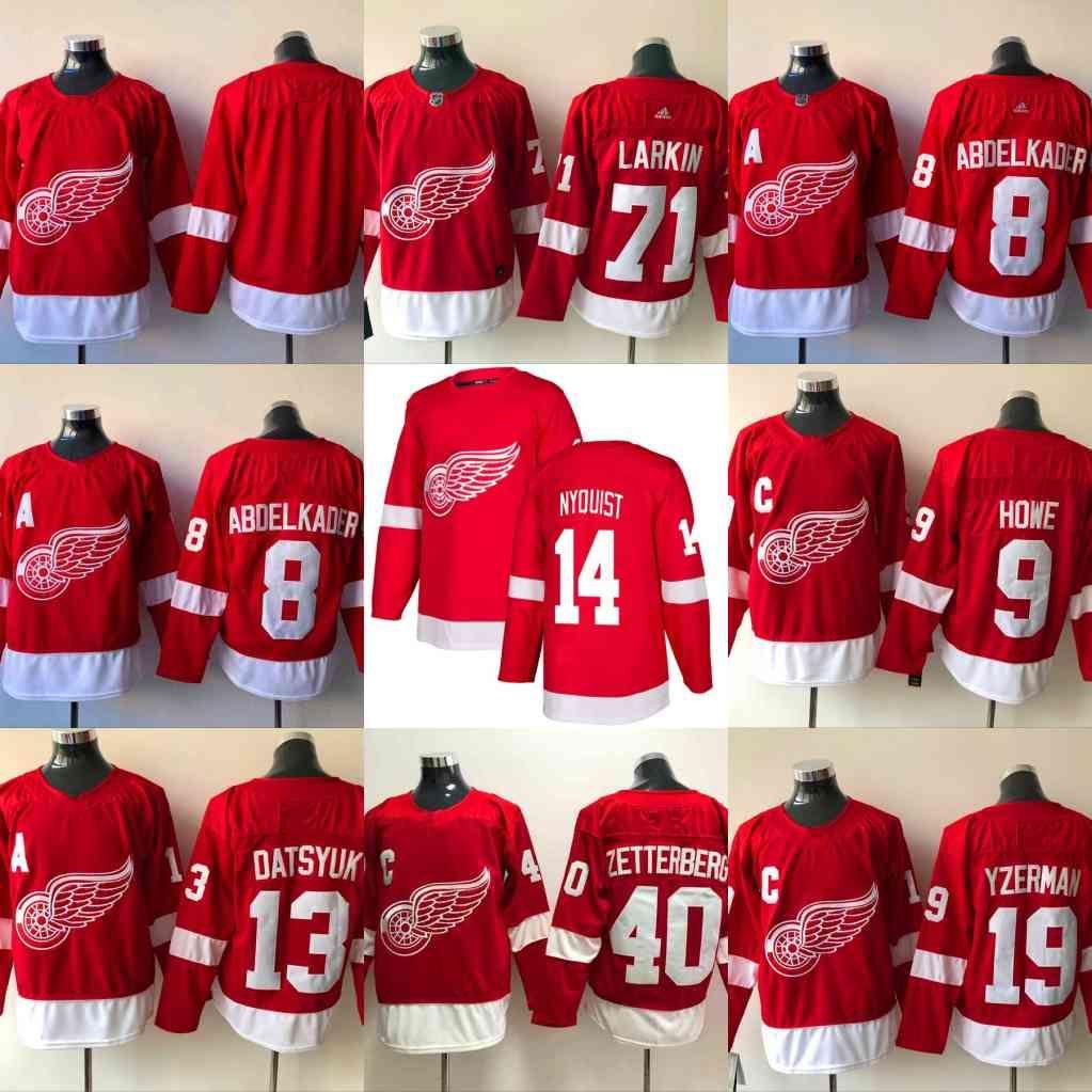 43ceecd42b2 2019 2019 Detroit Red Wings 71 Dylan Larkin Jersey 8 Justin Abdelkader 9  Gordie Howe 40 Henrik 19 Steve Yzerman 13 Pavel Datsyuk Hockey Jersey From  ...