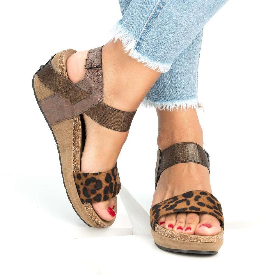 f2e8b30cda4e Ladies Sexy Party Ankle Strap Sandals Shoes Big Size 34 43 Women Leopard  Flat Platform Summer Gladiator Sandals Shoes Wedding Sandals Walking Sandals  From ...