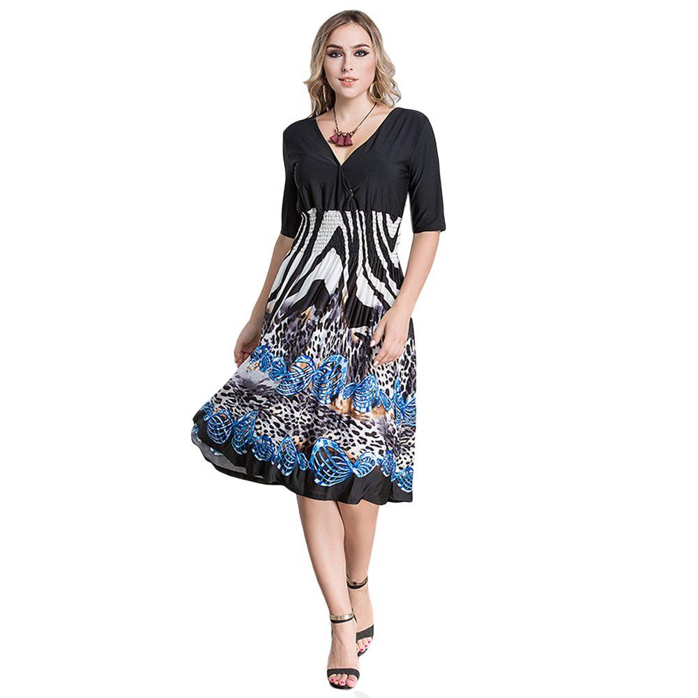 74bb7eaa0d02 New Sexy Women Plunge V Neck Print Plus Size Dress Big Size Knee Length  Midi Party Dress Autumn Casual Long Maxi Dress Black Sundress Sale Floral  Dresses ...