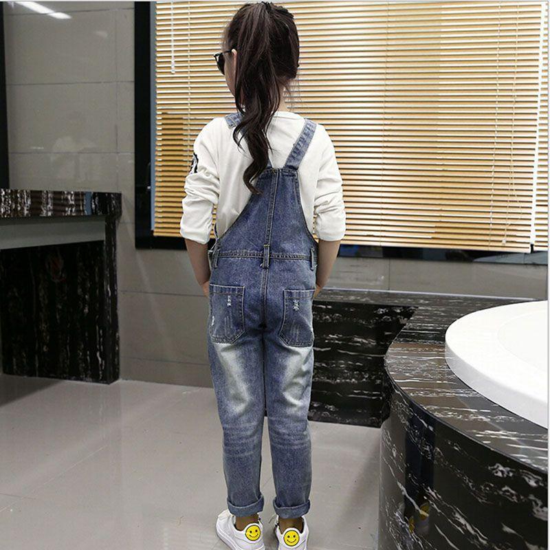Street Personality Fashion Children Girls Jean Pants Long Trousers Korean Style Autumn Worn Denim Jeans Bib Pants for Kids