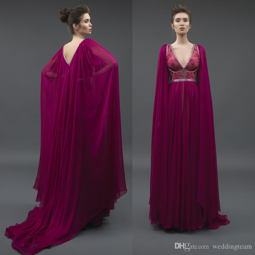 8ca6d30c52aa7 Magenta Backless Beaded Evening Dresses With Cape V Neck Lace Prom Gowns A  Line Pleated Chiffon Plus Size Formal Dress Evening Dresses Plus Size Uk  Evening ...