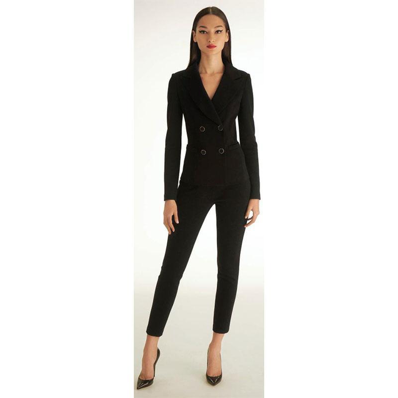 Compre Mujeres Negro Esmoquin Conjunto De 2 Piezas Traje De Negocios Para  Mujer Uniforme De Oficina Para Mujer Pantalones Pantalón Traje Cruzado ... 6f0d4c558ef3