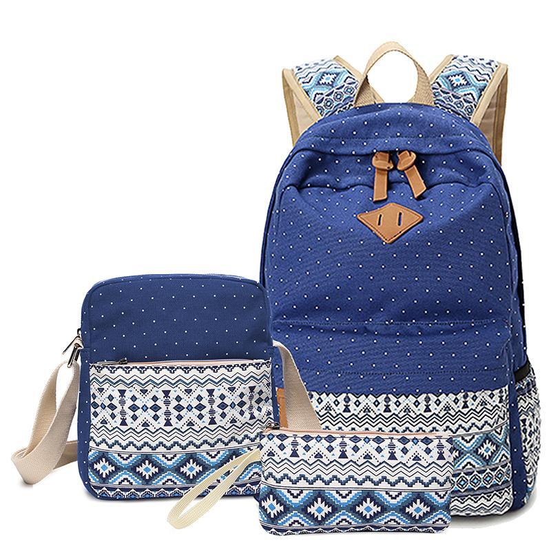 Vintage School Bags For Girls Kids Bag Canvas Backpack Women Bagpack  Children Backpacks Dot Shoulder Bags Blue Pencil Case Backpack On Wheels  Backpack ... b2c6e4821c969