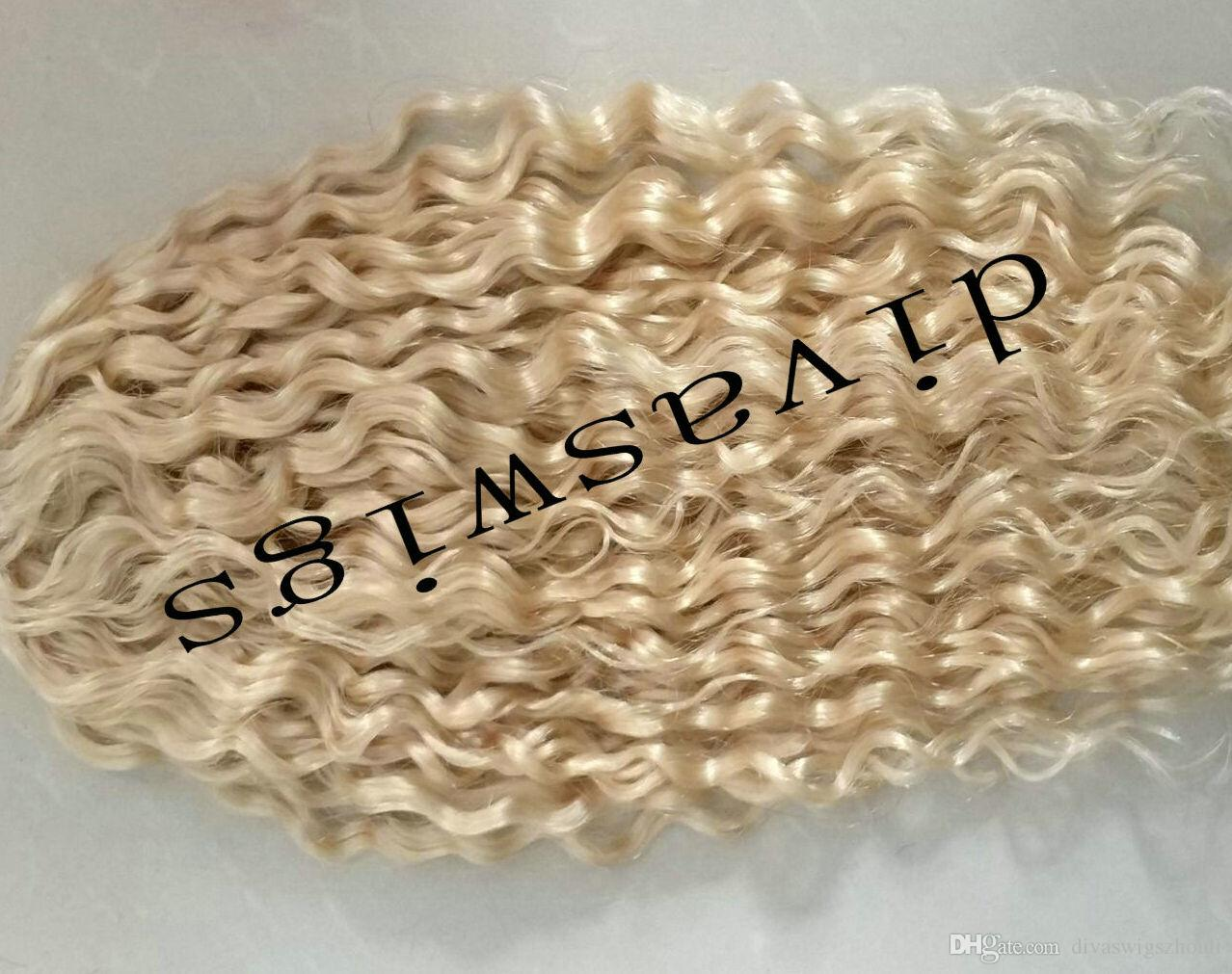 Blond Drawstring pony tail extension Deep curly clip in 613 blonde ponytail hairpiece 140g raw virgin hair pony