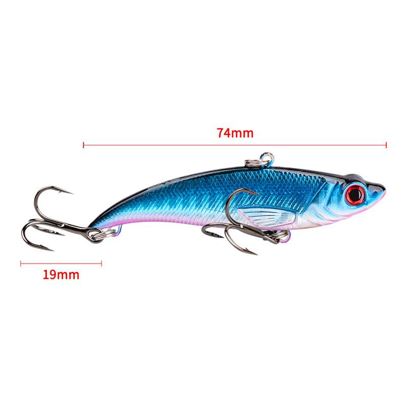 New Shallow Diving Artificial Realistic Fish VIB Wobbler Lures 7.4cm 13g Freshwater Laser Bass fishing bait 6# high carbon steel hooks