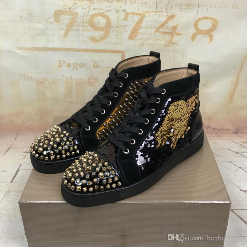 9bf1869c143e 2018 New Luxury Black Gold Glitter Sequins Red Bottom Shoes Designer High  Top Spikes Toe Genuine Leather Flats Party Wedding Sneakers Canada 2018 From  ...