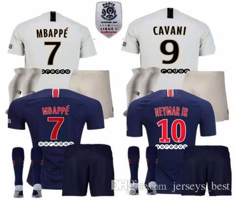 Compre 18 19 MBAPPE PSG Camiseta De Fútbol Uniforme Set 2018 2019 Paris  CAVANI Saint Germain DANI ALVES Maillot De Foot Away Camiseta Blanca De  Fútbol Kit A ... b39b42efe47c2