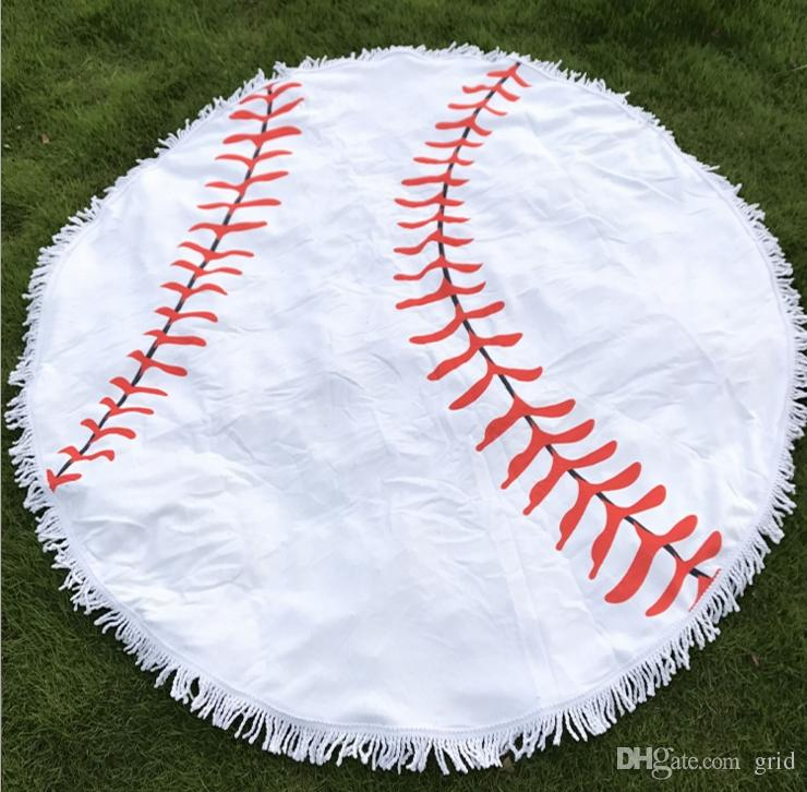 150cm Baseball Softball Tapestry Beach Towel Round blanket with Tassel Fringing Beach Throw round Outdoor Sports Yoga Mat Table Cloth