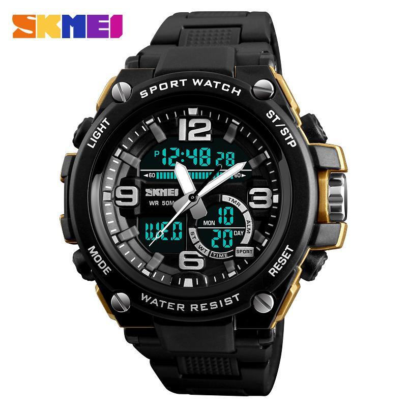 931708b140e143 Acheter SKMEI 1340 Hommes Double Affichage Montres Mode 3 Temps Compte À  Rebours 50 M Étanche Horloge Relogio Masculino Sports De Plein Air Montres  De  26.0 ...