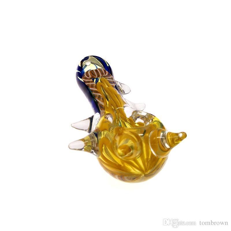 Vidro Cachimbos Tubos coloridos para Fumar Design legal do chifre de Vidro Grosso Mão tubulação tubulações do cachimbo de água 4.3