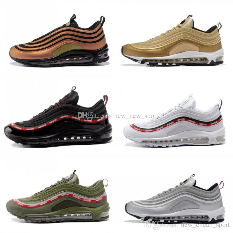 db91e73c6f8 2018 Chaussures 97 Ultra Undefeated X Running Shoes Mens Women White Green  97s OG Gold Silver Bullet Skepta Triple Black Trainers Sneakers Online with  ...