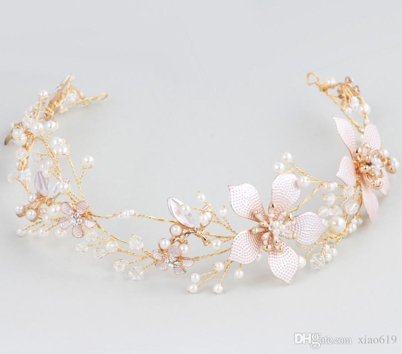 New Design Gold Flower Boho Bridal Hair Vine Headband Wedding Tiara Pearls Hair Jewelry Women Accessories Headpiece