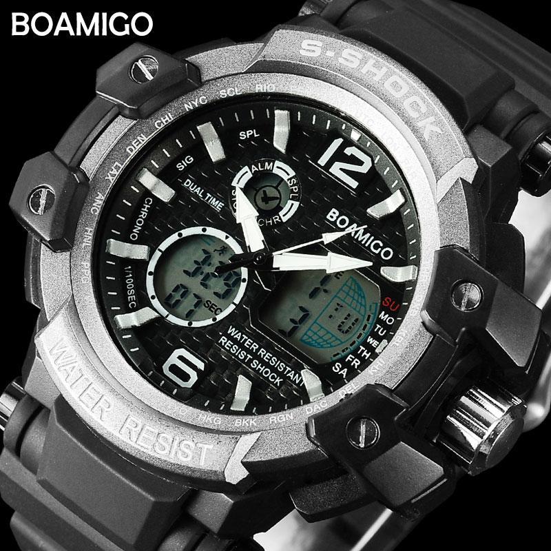 ef5ce08c861 Großhandel Günstige Quarz S Shock Männer Sport BOAMIGO Marke Uhren Mann  Digital Quarz Uhren Schwimmen Armbanduhr LED Schwarz Uhr Relogio Masculino  Von ...