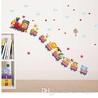 cartoon train kindergarten wall decoration wallpaper stickers baby