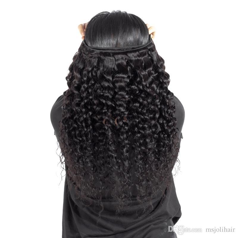 9A 밍크 인도 버진 워터 웨이브 젖은 젖은 8-28inch 버진 인간의 머리카락을 가진 4x4 레이스 폐쇄 정면 3 뭉치