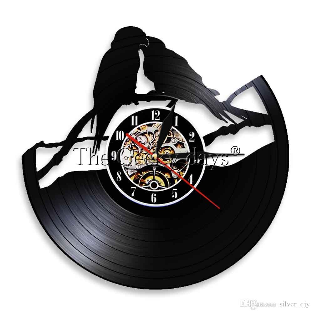 c686c6bbb60 Compre 1 Peça Papagaios Parede Vinil Record Decalques Quarto Mural Design  Decoração Arte Papagaio Relógio Relógio Pássaro Para Animais Amante  Presente De ...