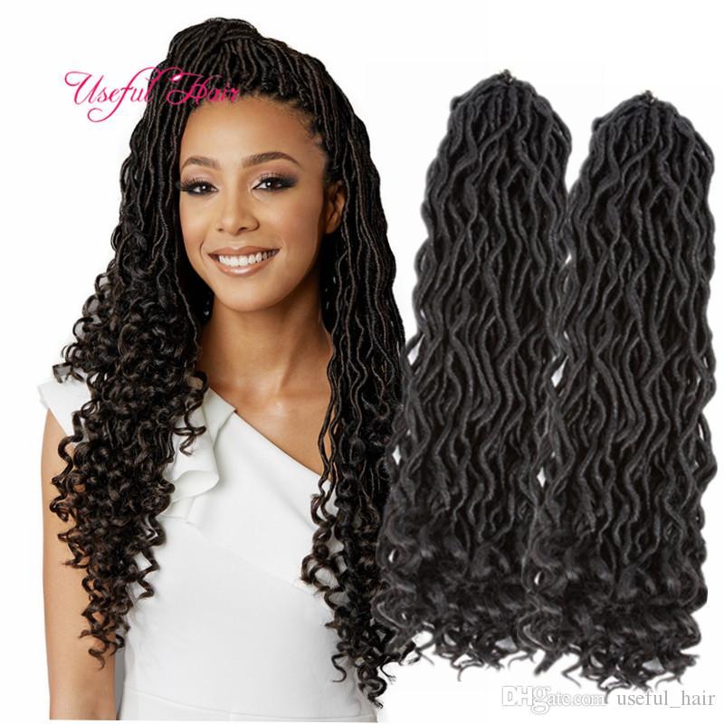 2018 Fashion Crochet Goddess Locs Hair Extensions Faux Locs Curly