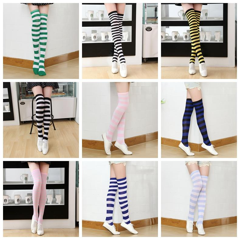 5b6f989ade1 Girls Long Striped Socks Women Sexy Stripes Knees Thigh High Socks Festive  Party Supplies Christmas Socks  Pair GGA1139 Christmas Decorations On Sale  ...