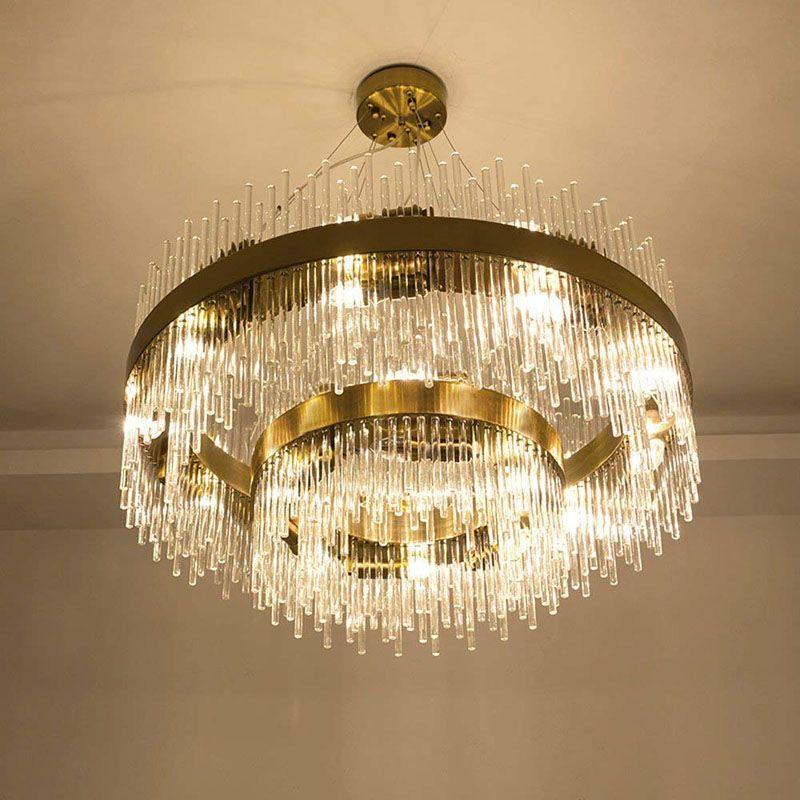Led3 Brightness Clear Glass Rod Retro Bronze Gold Ceiling Lights ...
