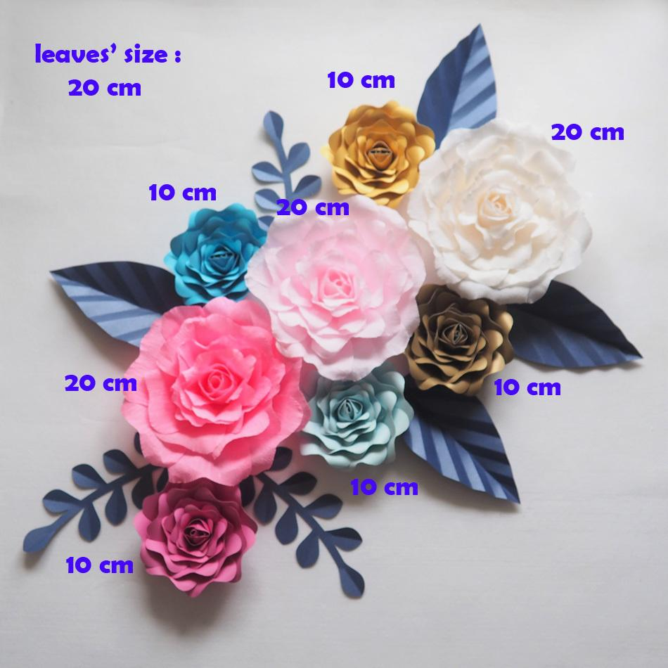 Large Paper Flowers Wedding Backdrop 8pcs 7 Leaves Handmade Artificial Crepe Paper Rose For Party Home Decorations Fashion Show