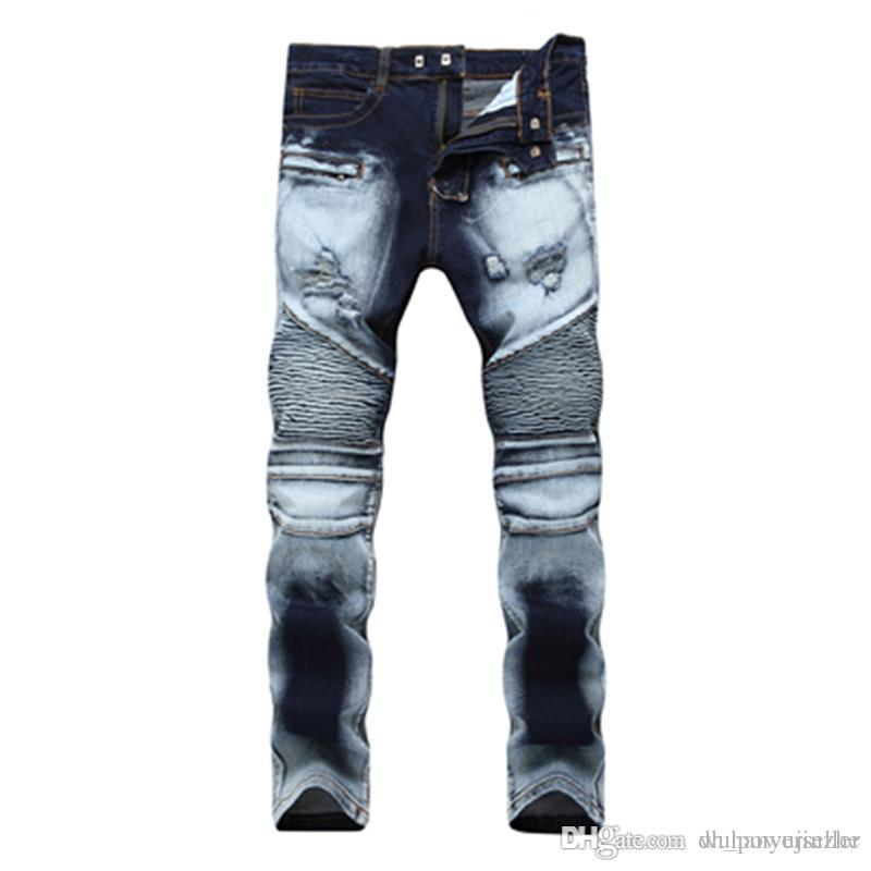 1da18248f3db9 Compre Los Hombres Desgastados Desgarraron Los Pantalones Vaqueros Del Diseñador  De Moda Motocicleta Recta Biker Jeans Pantalones De Mezclilla Causales ...