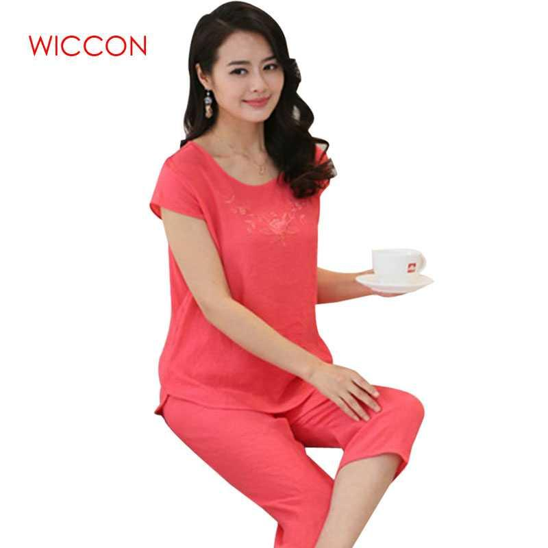 df7083633 2019 WICCON Women Pajama Sets Home Clothes Plus Size Short Sleeve Pajamas  For Women Calf Length Pants Cotton Linen Sleepwear Set 2018 From Baolv, ...