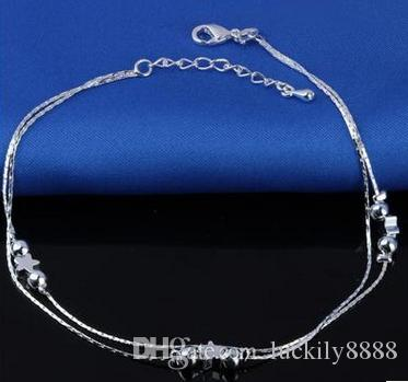 Foot Jewelry Anklets Hot Sale Silver Anklet Link Chain For Women Girl Foot Bracelets Fashion Jewelry Wholesale
