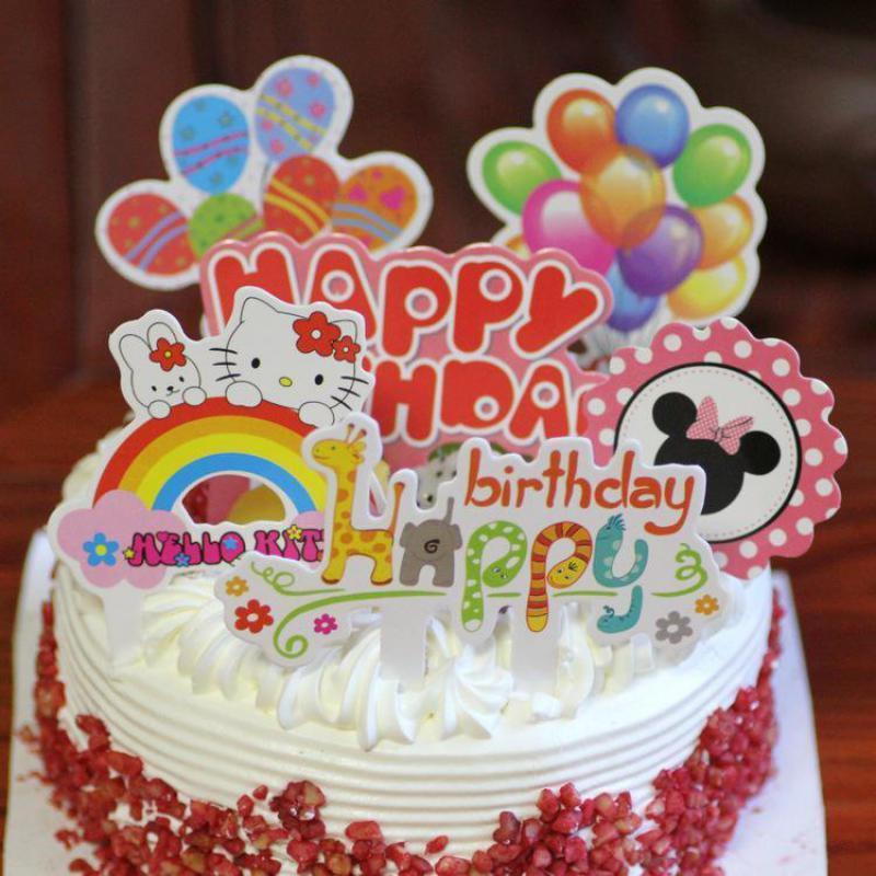Grosshandel 10 Satze Bunte Baby Shower Happy Birthday Cake Topper