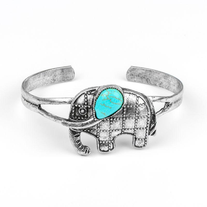 SHUANGR Boho Vintage Turquoises Bracelets for Women Men Cross Tree Snake Owl Hand Pendant Charm Bracelet Bangle Fashion Jewelry
