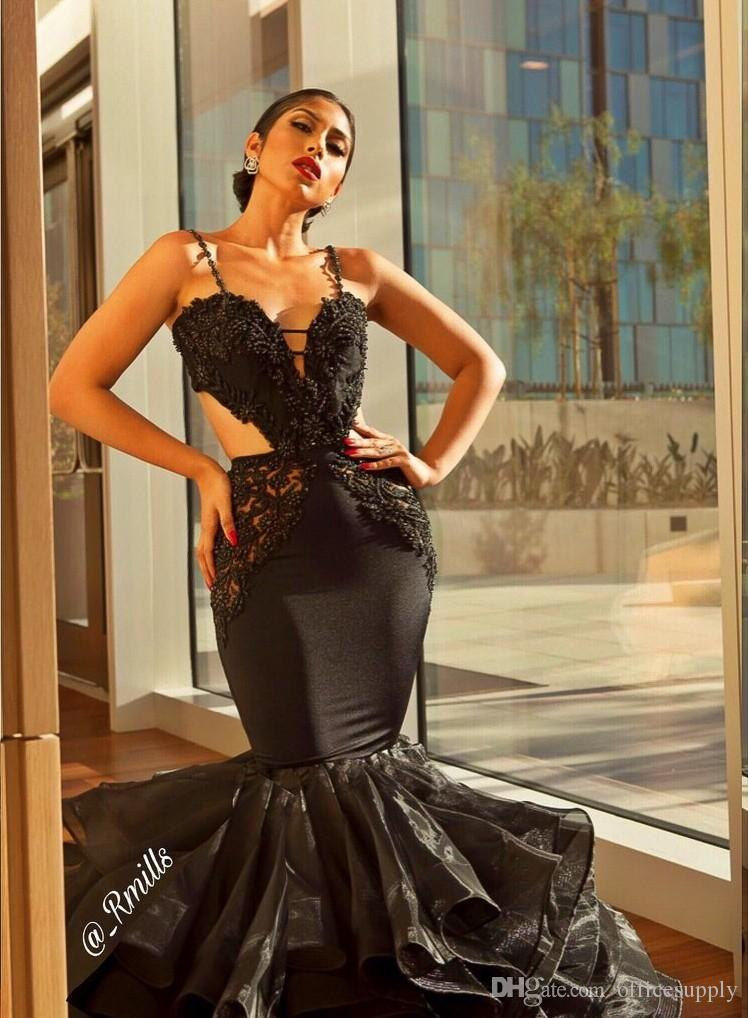 Mermaid Black Lace Prom Dresses 2018 Sexy Schatz-Isolationsschlauchbügel Open Back Formal Pageant Party Kleider