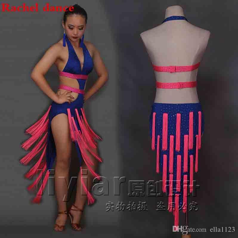 2019 Latin Dance Dress Performance Competition Sleeveless Sexy High Split Tassel  Costume Girls Lady Women Tango Cha Cha Rumba Samba Salsa Dancing From ... fa496608d9cb