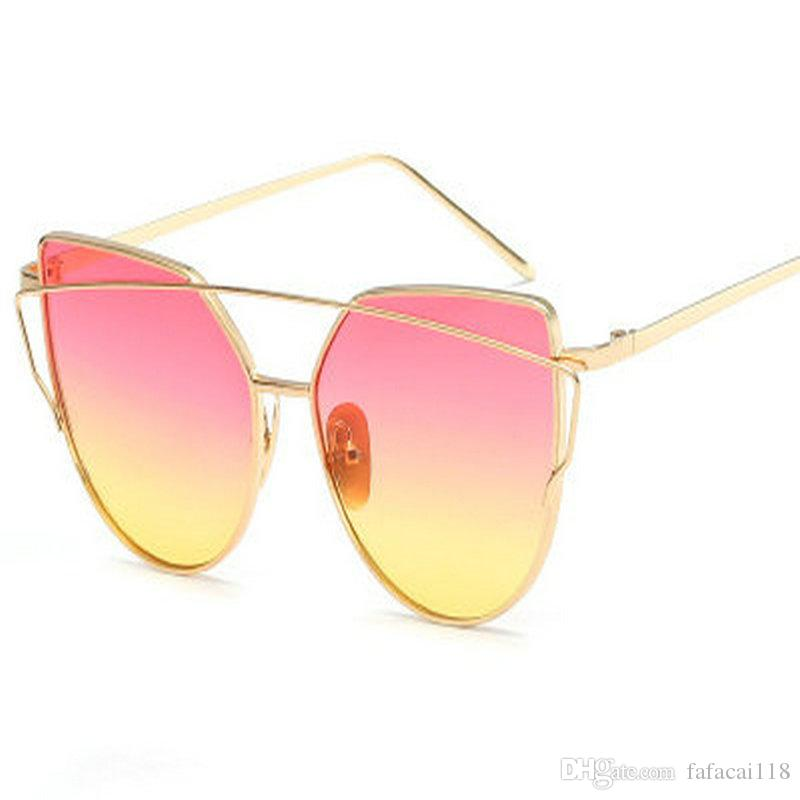 71597c4878 Hot Sale Mirror Flat Lense Women Cat Eye Sunglasses Classic Brand Designer  Twin Beams Rose Gold Frame Sun Glasses For Women M195 Designer Glasses  Sunglasses ...