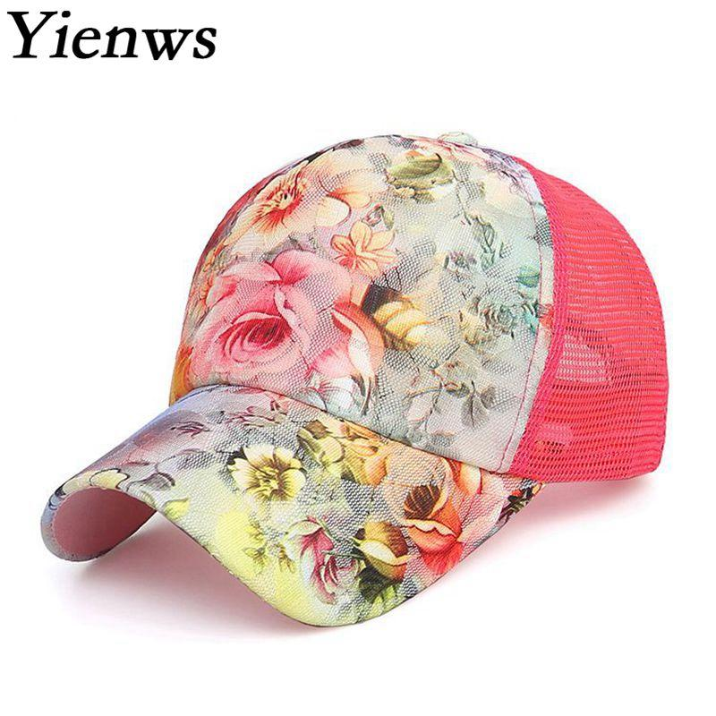 489adc114ee Woman Baseball Caps Summer Floral Mesh Baseball Cap Women Leisure Net Sun Hats  Pink Red YIC642 Snapback Caps Fitted Hats From Watchesgreat