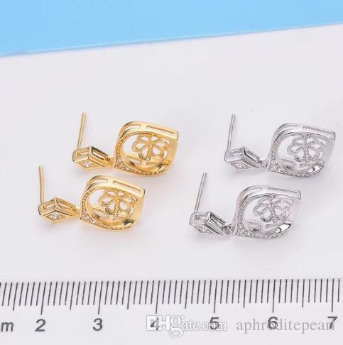 ONE pair zircon solid sterling silver earring setting, earring mounting, earring blank without pearl, jewelry DIY, gift DIY