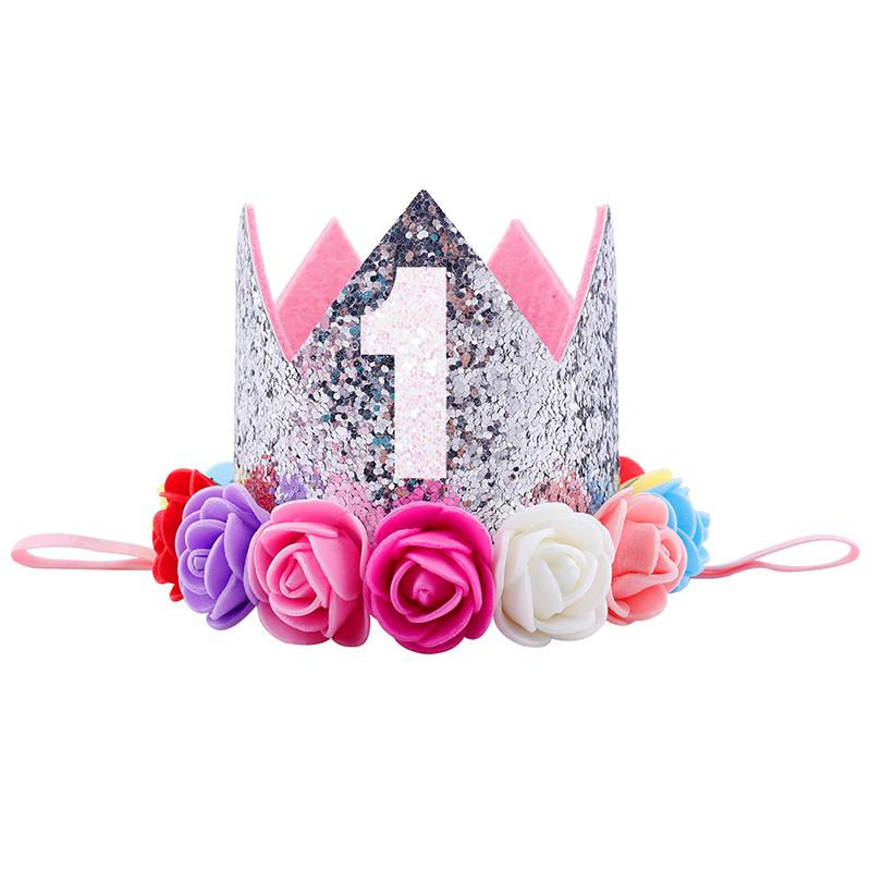 Hat Gifts Baby Girl First Birthday Party Decorations Hairband Princess Queen Crown Lace Hair Band Elastic Head Wear Hats For Kids