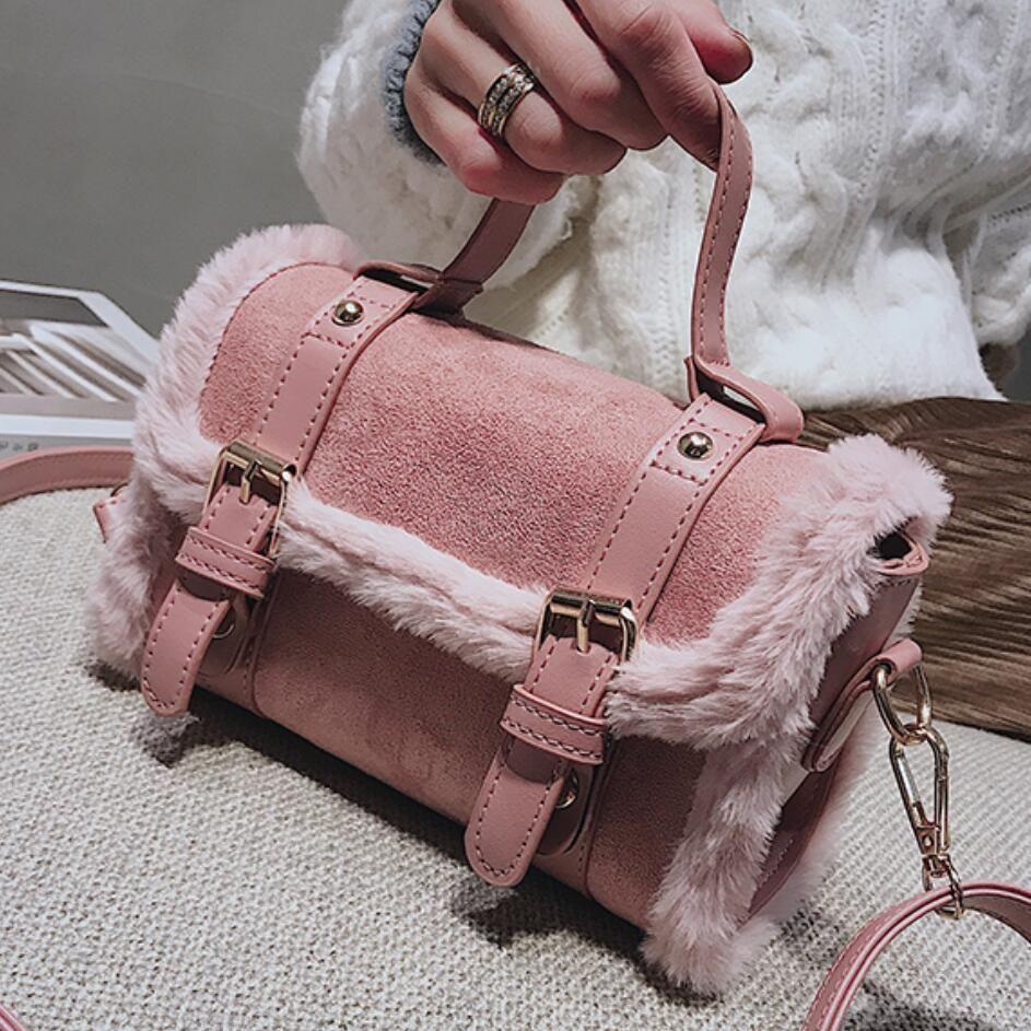 5bdde9754da Vintage Fashion Female Mini Tote bag 2018 Winter New High quality Suede  Women's Designer Handbag Portable Shoulder Crossbody Bag
