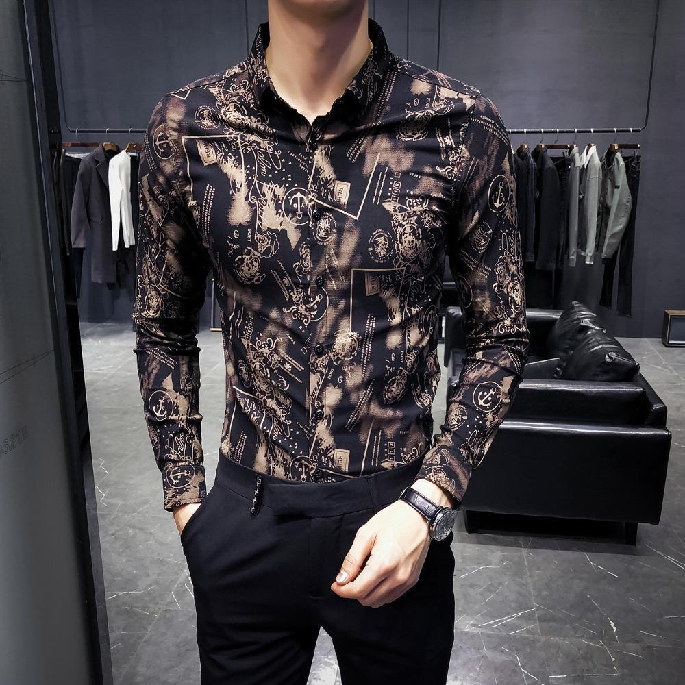 94e44f01c365 2018 Korean fashion autumn new trend men's slim floral long-sleeved shirt  Yalong nightclub youth clothing