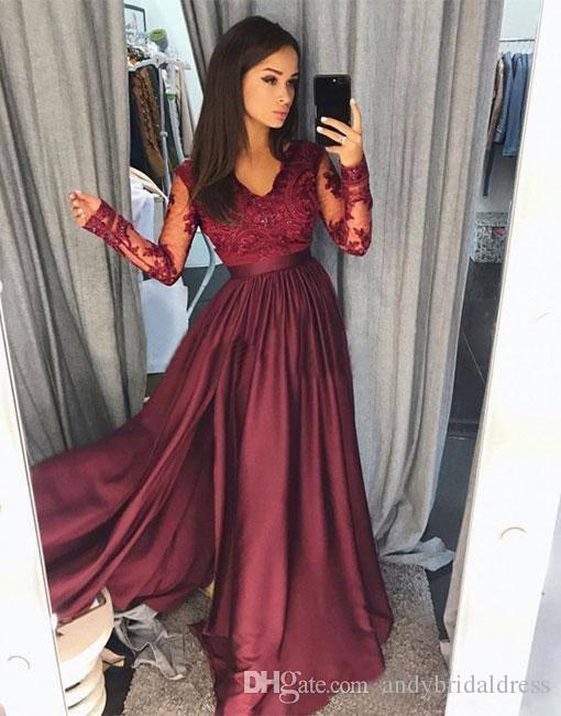 Hot Borgogna Pizzo Prom Dresses 2019 Sheer Vintage maniche lunghe Una linea scollo a V partito formale usura Prom Pageant abiti arabo